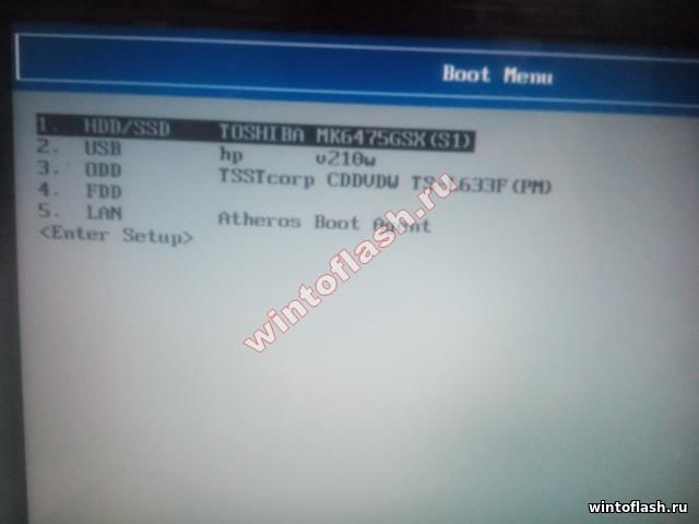 Boot menu на Toshiba Satellite l755